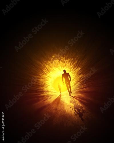 Der Tunnel zum Licht - Gold Gelb Fototapete