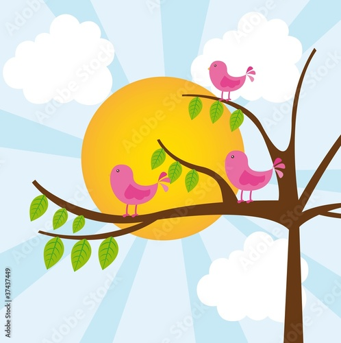 Poster Oiseaux, Abeilles birds with tree