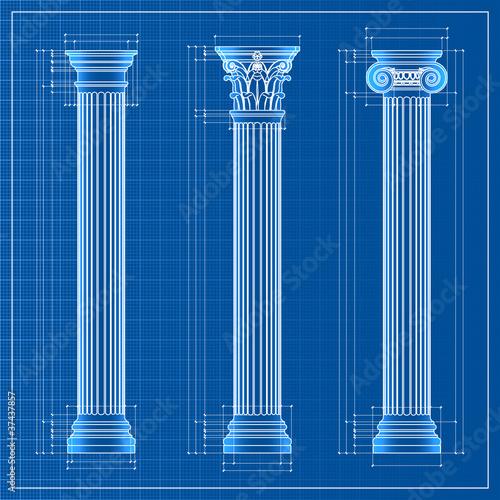 Fotografie, Obraz  classic columns blueprint sketch, vector