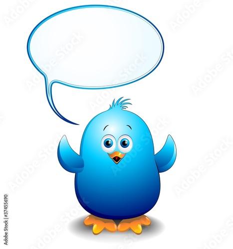 Photo sur Aluminium Draw Pulcino Uccello Blu Cartoon Fumetto-Blue Bird Chick with Bubble