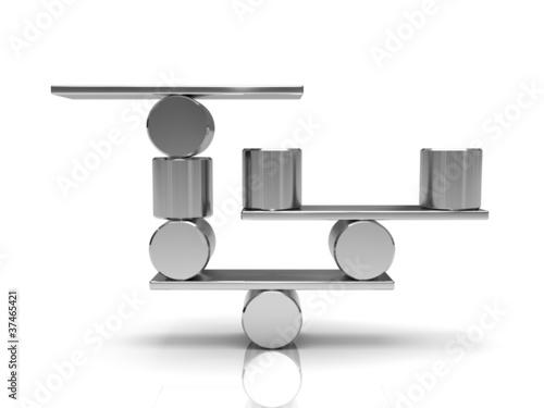 Fényképezés  Balancing steel cylinders