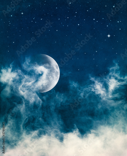 Wall mural - Midnight Fog and Moon