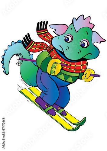 Tuinposter Dinosaurs Baby dragon-skier.