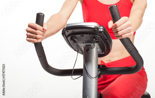 Fotografie, Obraz  Exercising on a bicycle trainer