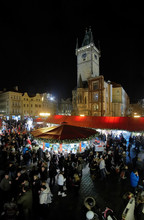 Christmas Market On The Old Town Square In Prague, Czech Republic