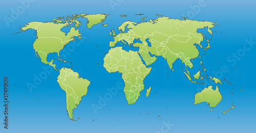 World Map 2012 including new states like South Sudan - Buy this ...