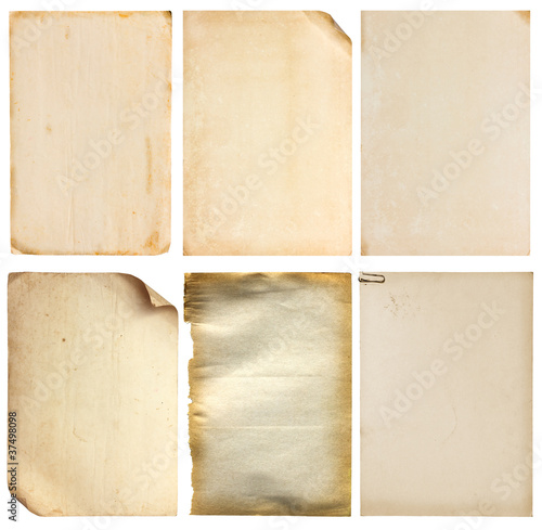 Poster Retro Set of old vintage paper background (clipping path)