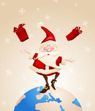 Santa Claus Joyful With Gifts