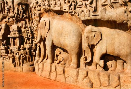 Fotografie, Obraz  Ganga-Relief, Tempel von Mahabalipuram, Indien