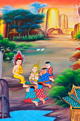 Tuinposter Egypte Buddha art paint in public temple of Thailand