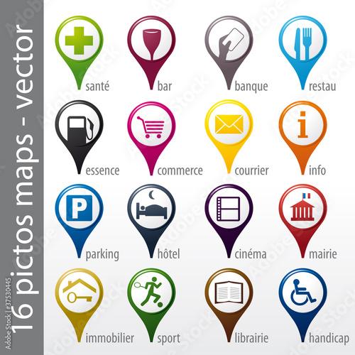 Fotografie, Obraz  set 16 icons, pictos, symboles, logos
