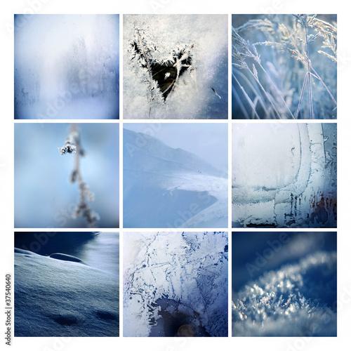 zima w 9 kwadratach niebieski makro - 37540640