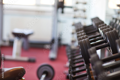Fotografie, Obraz  Hantelbank in einem Fitnesscenter