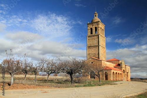 Fotografie, Obraz  Iglesia del Cristo de Tabuyo del Monte con frutales.