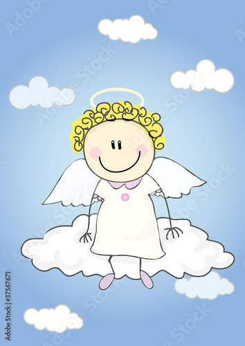 Poster Ciel Angel on cloud