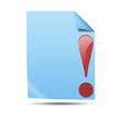 Icono documento 3D con simbolo atencion