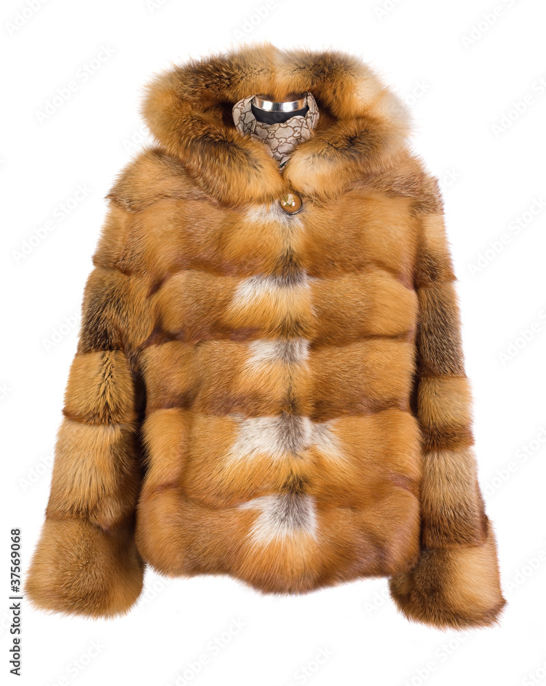 Fototapeta Real foxy fur coat isolated on white background