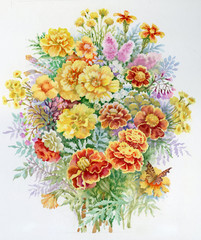 Obraz Watercolor Flower Collection: Bouquet of Marigold