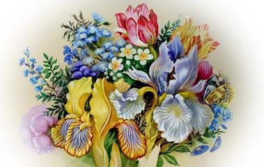 Fototapeta Vintage Watercolor Flower Collection: Irises