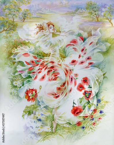 Naklejka dekoracyjna Painting Collection: Poppies field