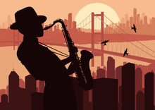 Saxophone Player Background Illustration
