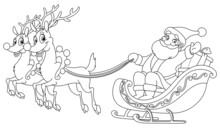 Outlined Santa Sleigh