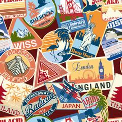 Fototapeta Vintage Vintage travel stickers seamless pattern