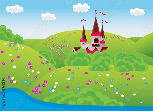 Poster Castle dreamlike landscape