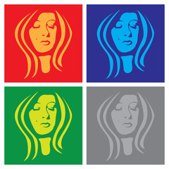 Panel Szklanyyoung woman face in popart