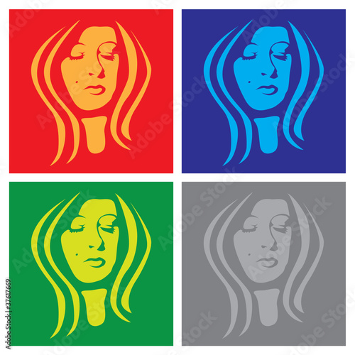 young woman face in popart - 37617669