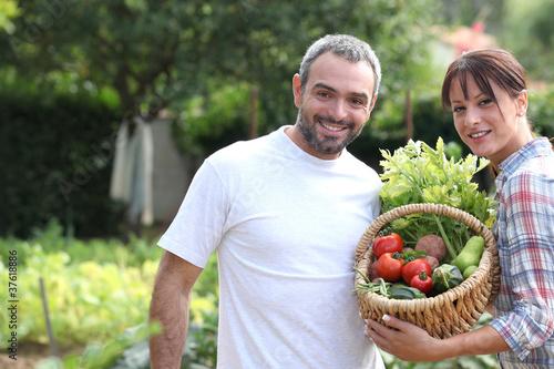 Fotografie, Obraz  A couple taking care of their vegetable garden.