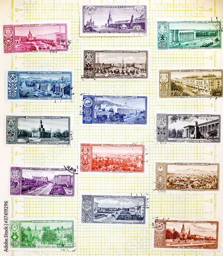 Photo USSR - CIRCA 1958: Soviet stamps with the capitals of the republ