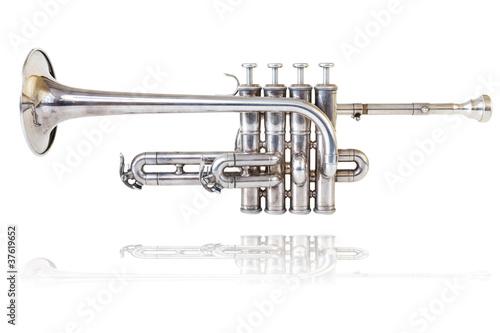 Fotografie, Obraz  Silver golden piccolo trumpet four valves isolated background