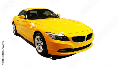 Foto op Plexiglas Snelle auto s Yellow car , international auto show