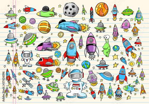 Photo Stands Cartoon draw Color Doodle Space Set Vector Illustration Set