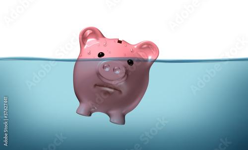 Fotomural Drowning in debt