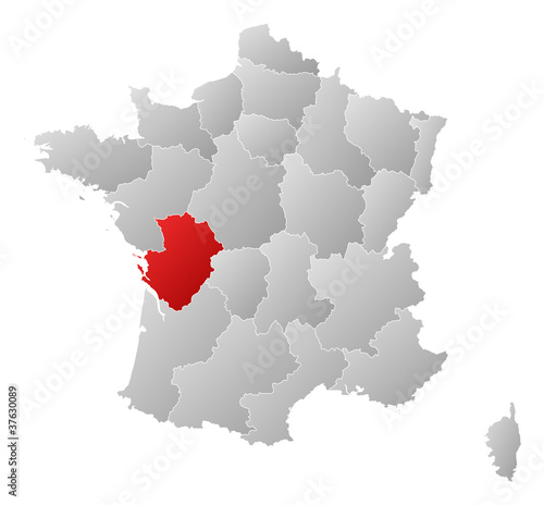 Poitou France Map.Map Of France Poitou Charentes Highlighted Buy This Stock Vector