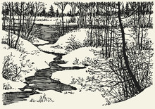Vector Winter Landscape. The Brook In The Woods
