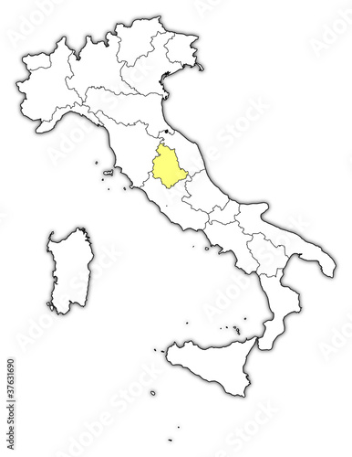 Map Of Italy Umbria Highlighted Buy This Stock Vector And Explore