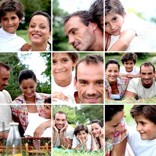Mosaic of family enjoying picnic outdoors #37635649