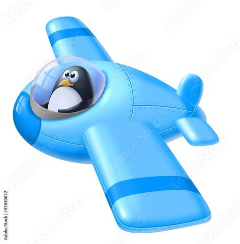 Fotobehang Vliegtuigen, ballon pinguino aviatore