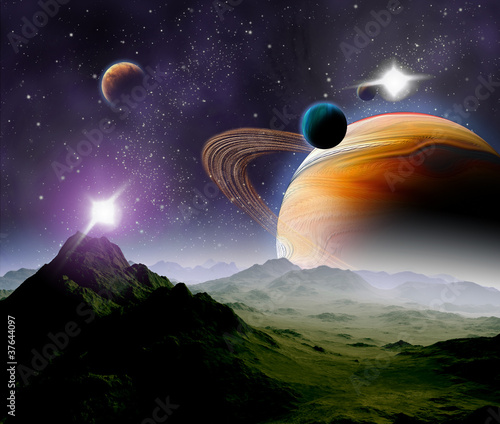 Cadres-photo bureau Cosmos Abstract background of deep space. In the far future travel. New