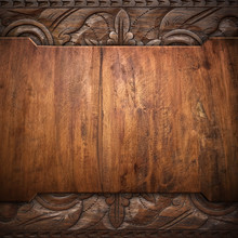 Wood Background With Carving P...