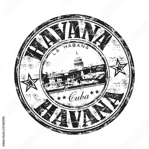 Photo  Havana grunge rubber stamp