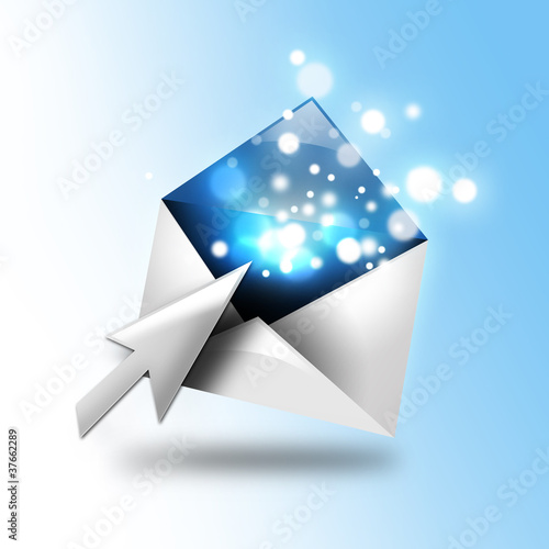 Fotografie, Obraz  Email Letter With Sparkles and Arrow