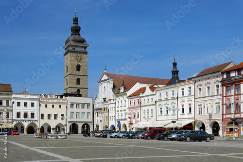 Poster Northern Europe Central square of Ceske Budejovice and Black Tower