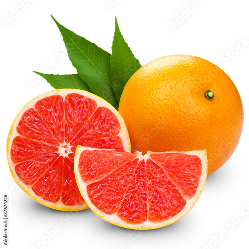 Fotografia  Grapefruit with slice detail on white background