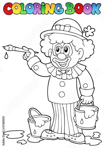 Türaufkleber Zum Malen Coloring book with cheerful clown 2