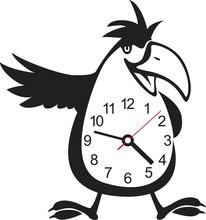 Wall Clock Parrot Sticker. Vec...