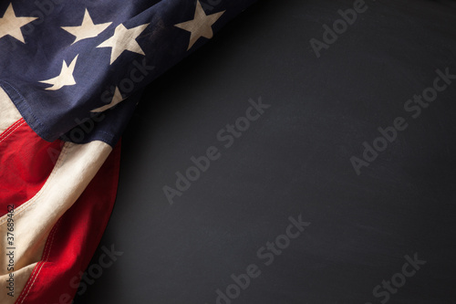 Vintage American flag on a chalkboard Wallpaper Mural